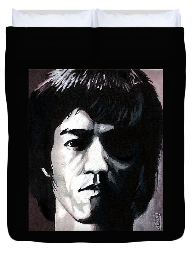 Bruce Lee Duvet Cover featuring the mixed media Bruce Lee Portrait by Alban Dizdari