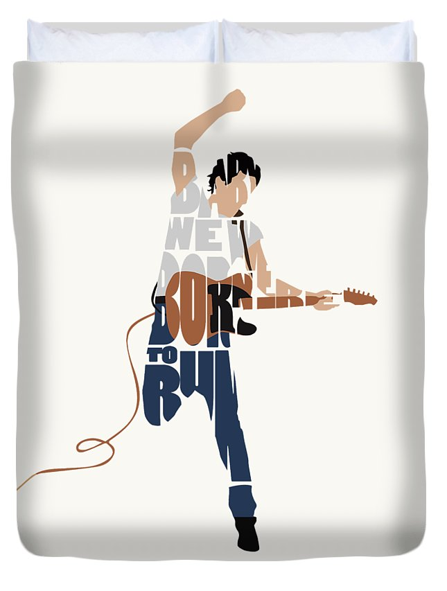 Bruce Springsteen Duvet Cover featuring the digital art Bruce Springsteen Typography Art by Inspirowl Design