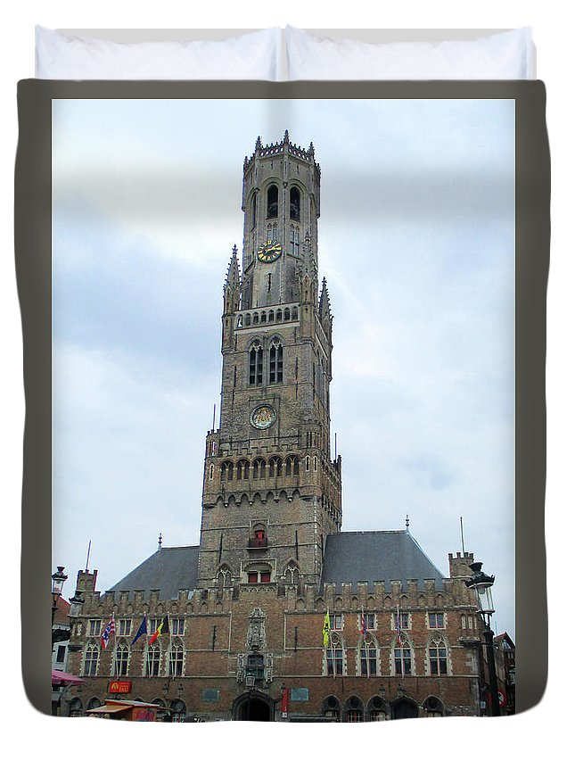 Bruges Duvet Cover featuring the photograph Bruges Belfry 1 by Randall Weidner