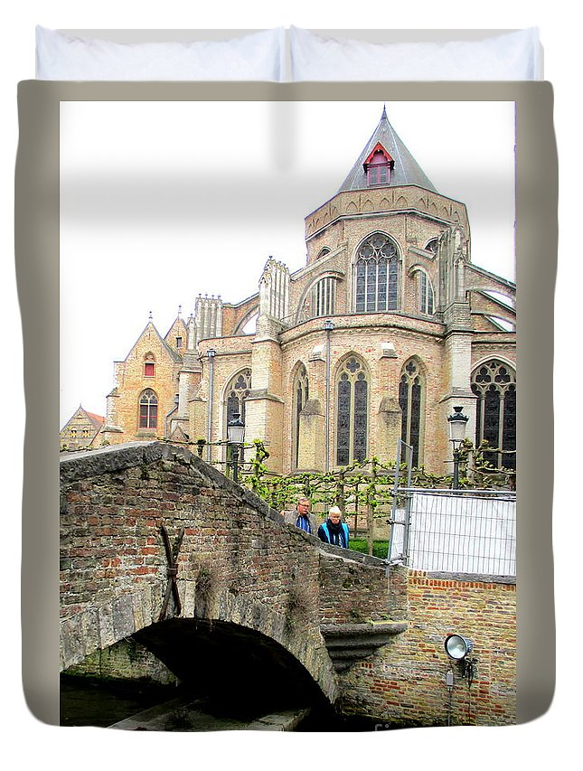 Bruges Duvet Cover featuring the photograph Bruges Bridge 3 by Randall Weidner