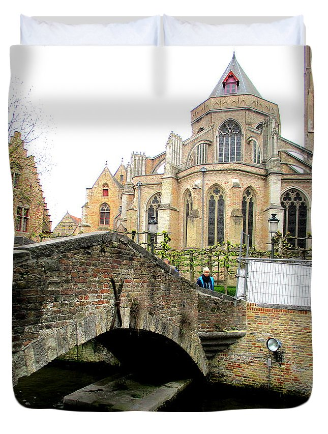 Bruges Duvet Cover featuring the photograph Bruges Bridge 4 by Randall Weidner