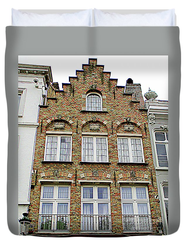 Bruges Duvet Cover featuring the photograph Bruges Window 15 by Randall Weidner