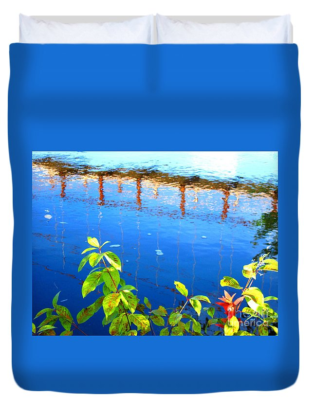 Water Duvet Cover featuring the photograph Brunswick Maine Walking Bridge by Sybil Staples