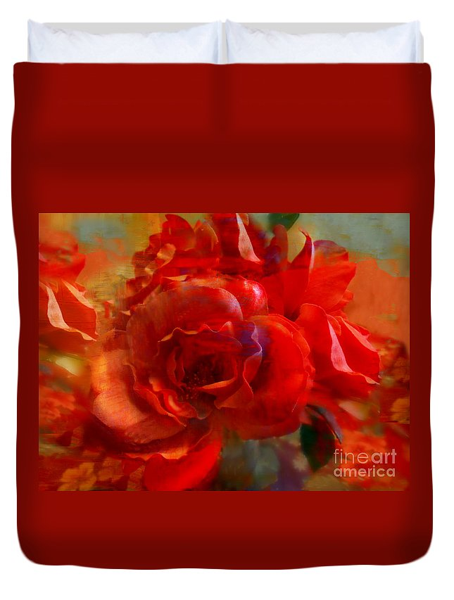Anne Alfaro Duvet Cover featuring the digital art Brushed Flowers by Anne Alfaro
