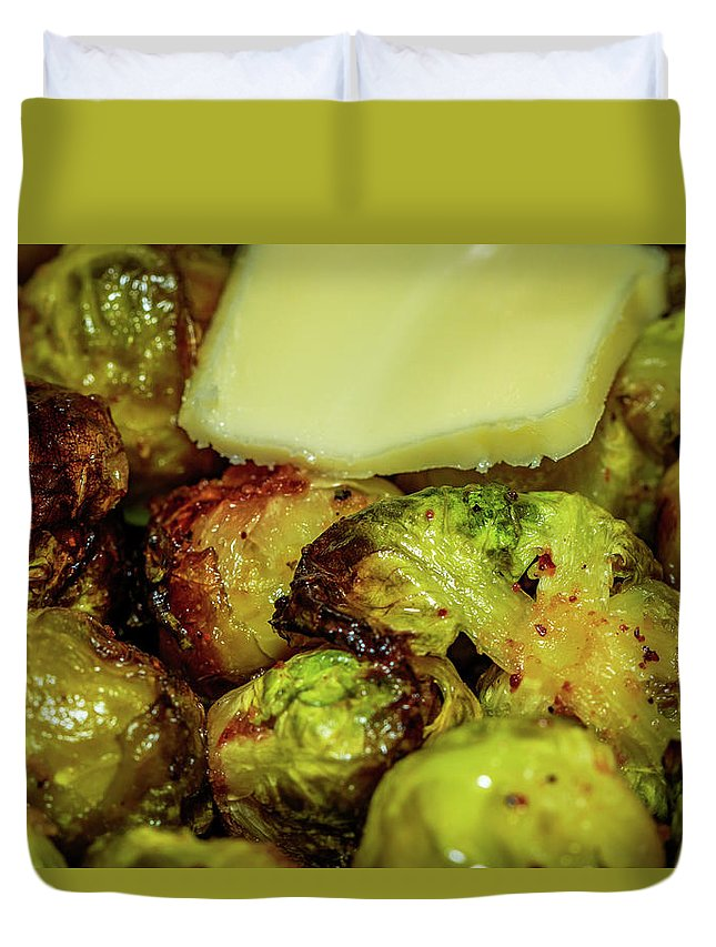 Brussel Sprouts Duvet Cover featuring the photograph Brussel Sprouts 2 by Charles A LaMatto