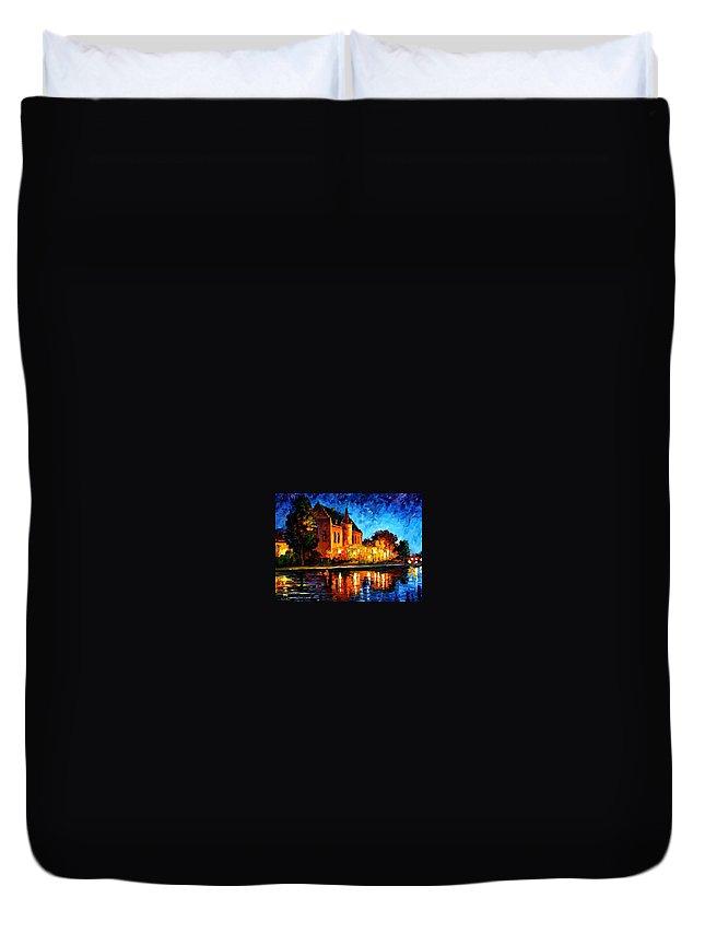 Afremov Duvet Cover featuring the painting Brussels - Castle Saventem by Leonid Afremov