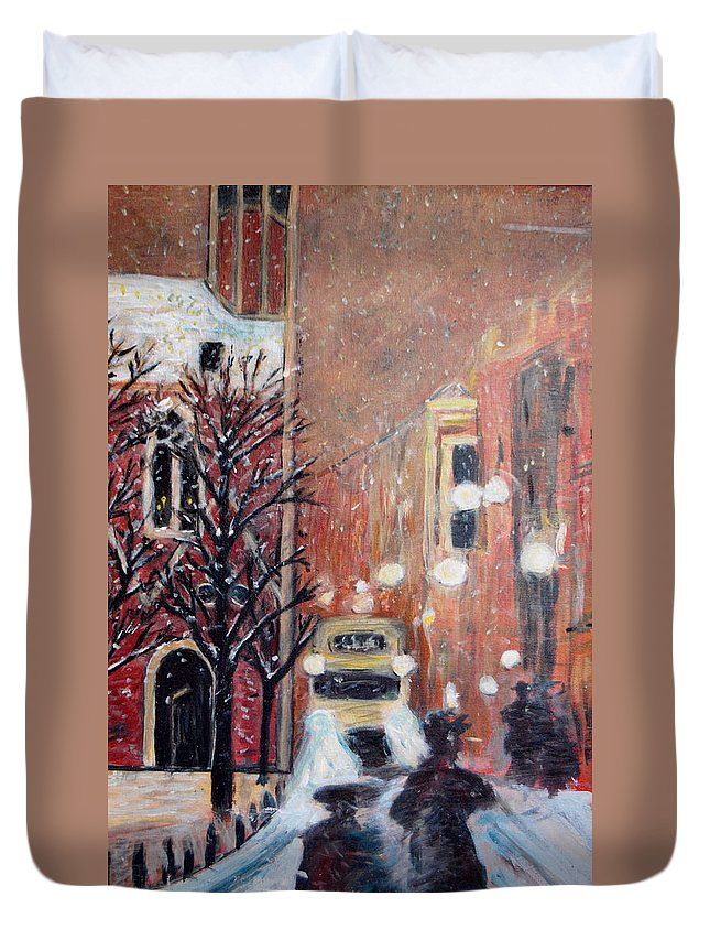 Belgium Duvet Cover featuring the painting Brussels At Night by Carolyn Donnell