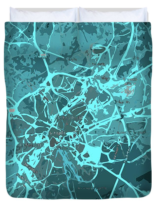 Brussels Duvet Cover featuring the digital art Brussels Traffic Abstract Blue Map And Cyan by Drawspots Illustrations