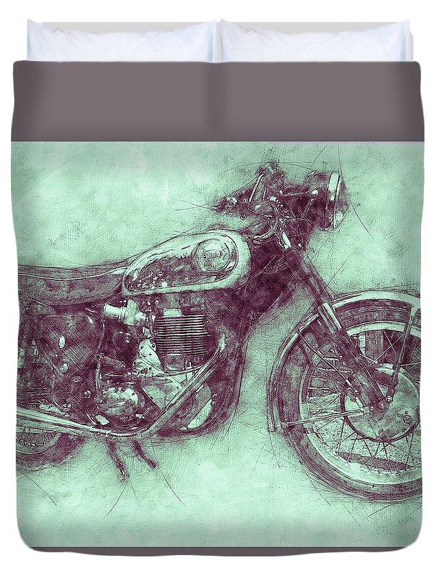 Bsa Gold Star Duvet Cover featuring the mixed media Bsa Gold Star 3 - 1938 - Motorcycle Poster - Automotive Art by Studio Grafiikka