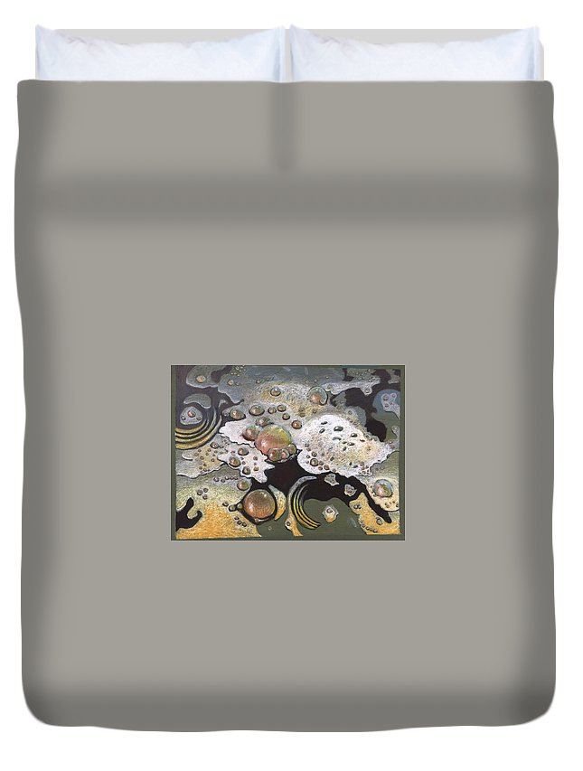 Sandra Hansen Duvet Cover featuring the drawing Bubble, Bubble, Toil and Trouble 2 by Art Nomad Sandra Hansen