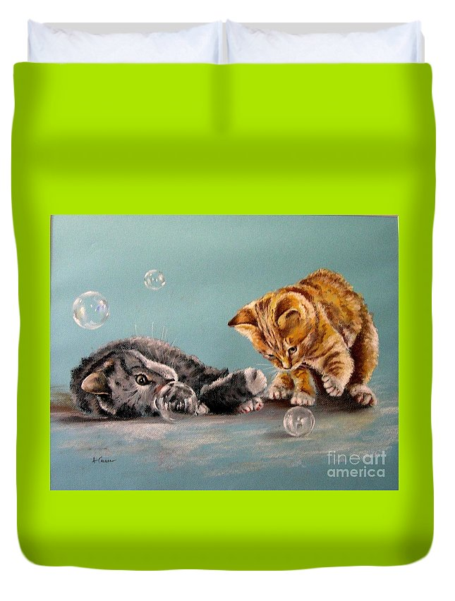 Cat Portrait. Cats In Pastels. Pastel Cat Painting. Cats Playing Duvet Cover featuring the pastel Bubble Cats by Tony Calleja