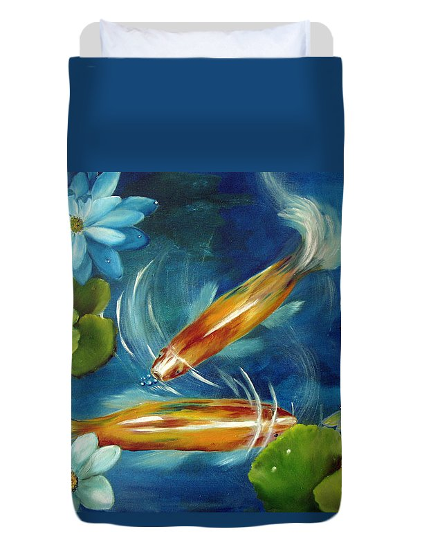 Koi Duvet Cover featuring the painting Bubble Maker by Carol Sweetwood
