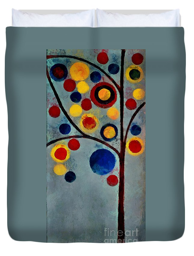 Tree Duvet Cover featuring the painting Bubble Tree - Dps02c02f - Left by Variance Collections