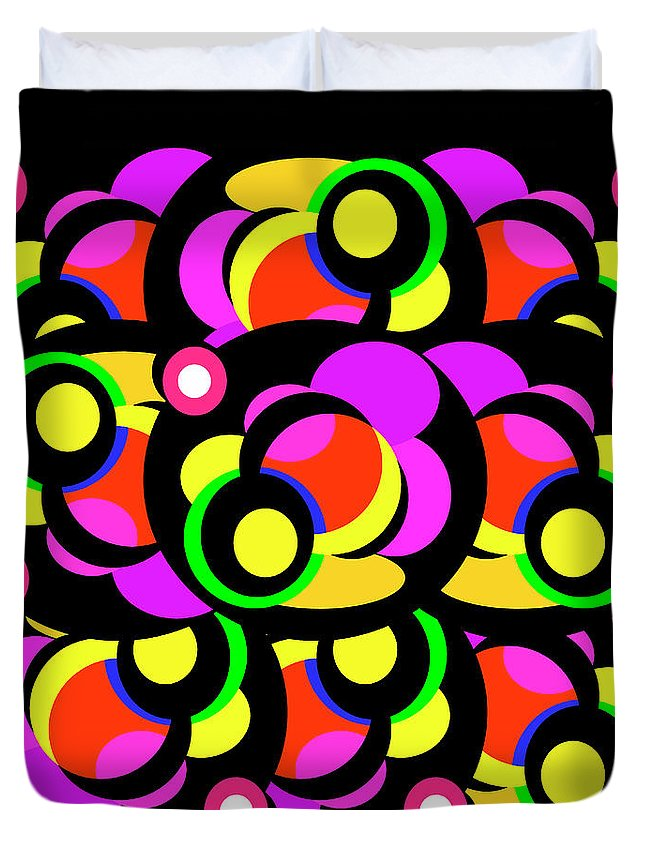 Abstract Duvet Cover featuring the digital art Bubbles by Barbara Gerry