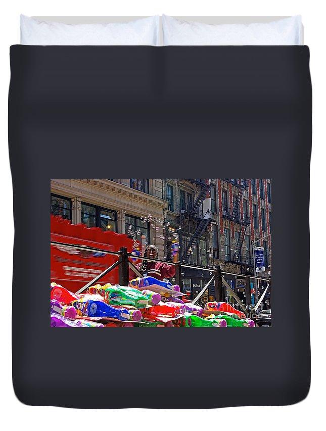 Bubbles Duvet Cover featuring the photograph Bubble Gun Seller In New York by Zal Latzkovich