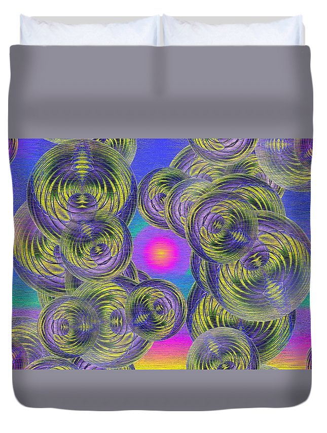 Bubbles Duvet Cover featuring the digital art Bubbles In The Mist by Tim Allen