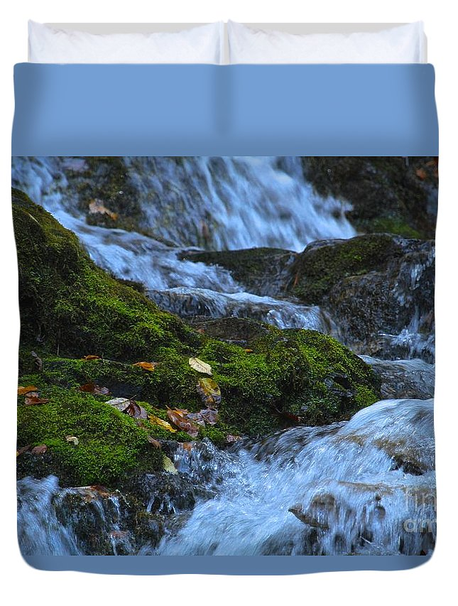 Mingo Falls Duvet Cover featuring the photograph Bubbling Waterfall by Robin Erisman