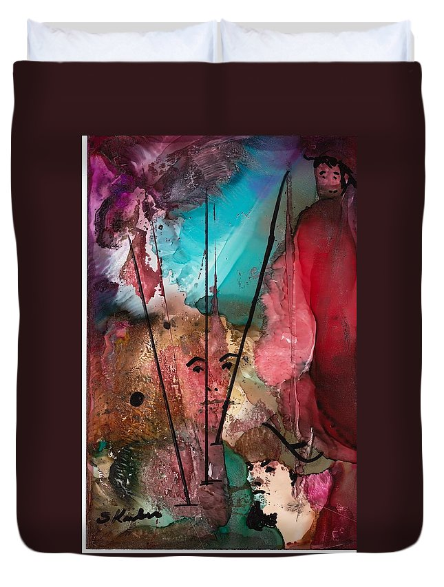 Pirate Duvet Cover featuring the mixed media Buccaneers by Susan Kubes