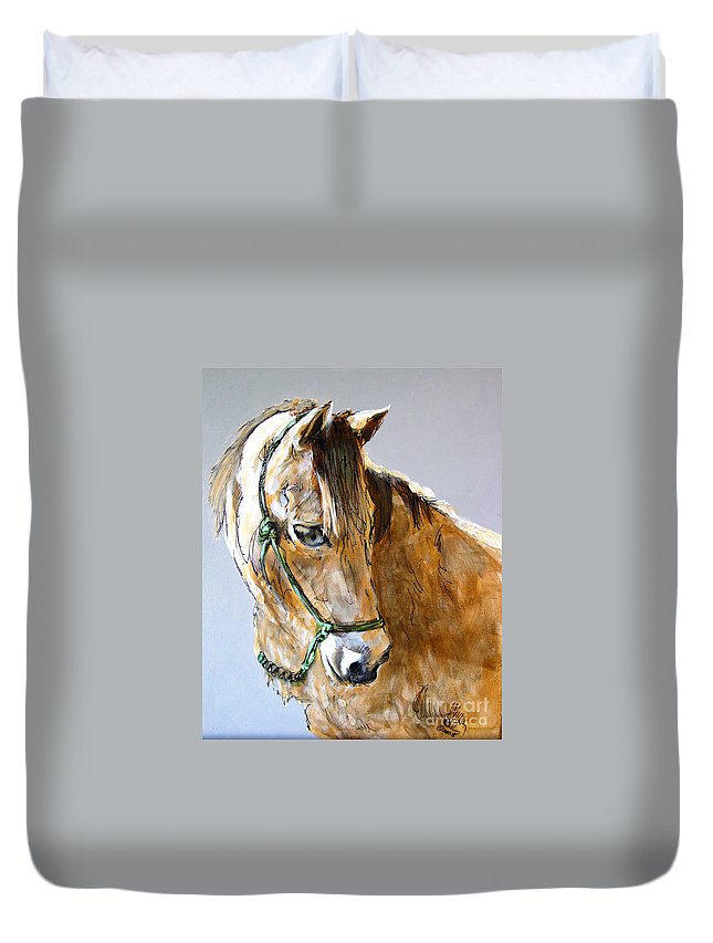 Morgan Horse Duvet Cover featuring the painting Buck Of The Morgan Horse Ranch Point Reyes National Seashore by Paul Miller