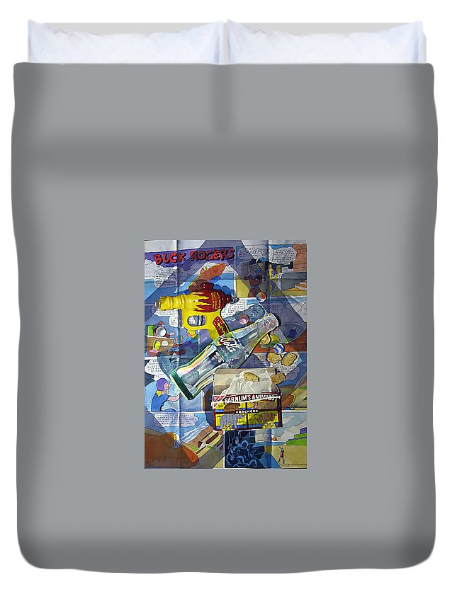 Ray Gun Duvet Cover featuring the painting Buck Rogers And Animal Crackers by Patrick Clark