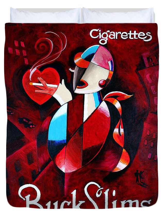 Woman Duvet Cover featuring the painting Buck Slims Cigarettes by Thom Reaves