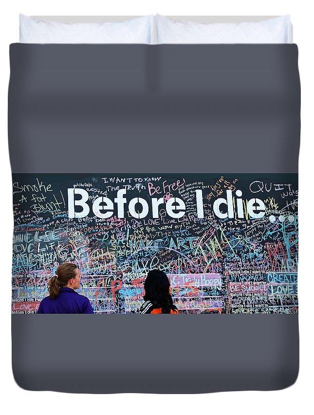 Chalk Board Duvet Cover featuring the photograph Bucket Wall by Joe Jake Pratt