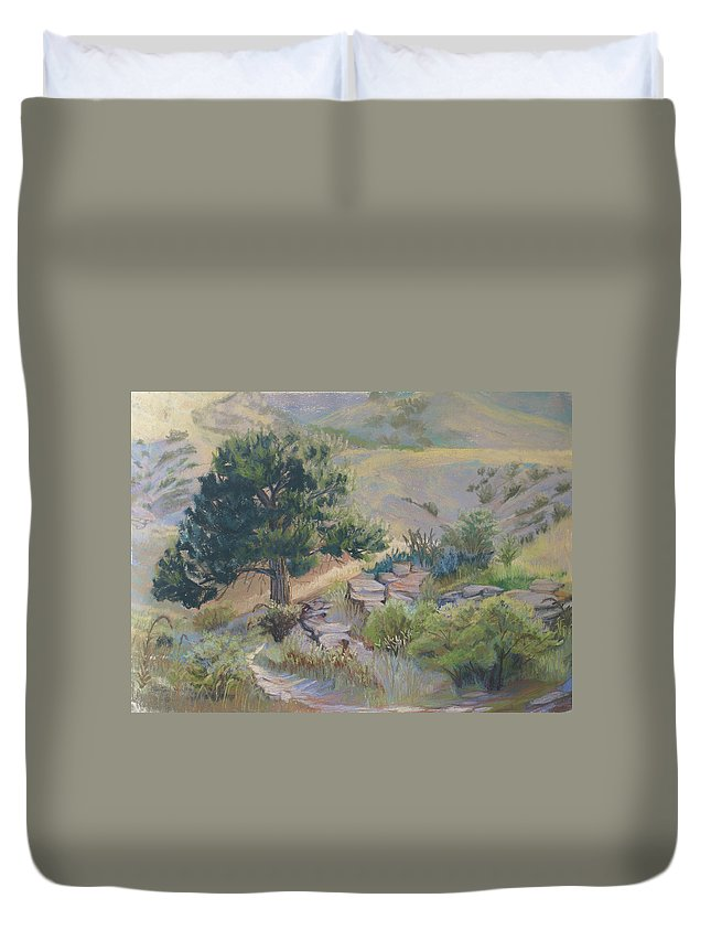 Pine Tree Duvet Cover featuring the painting Buckhorn Canyon by Heather Coen