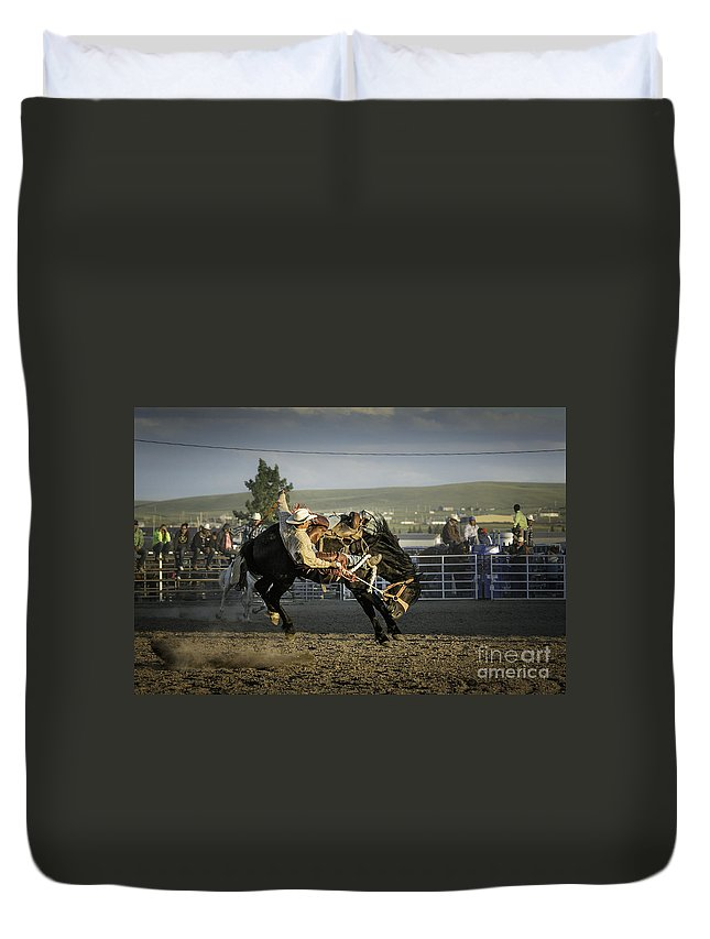 Montana Duvet Cover featuring the photograph Bucking Bronco 2 by Timothy Hacker