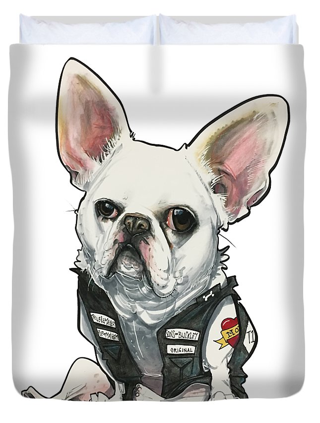 Pet Portrait Duvet Cover featuring the drawing Buckley 3392 Stanley by John LaFree