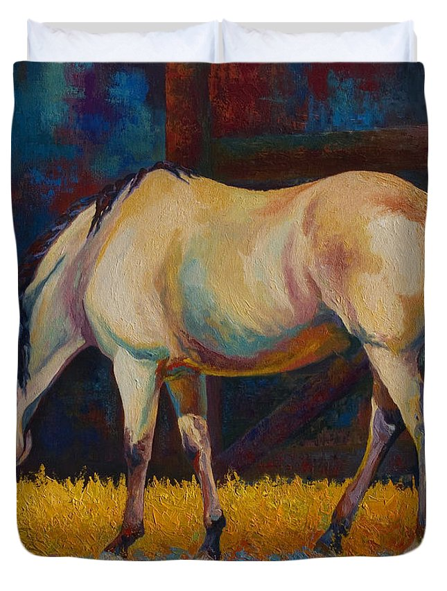 Horses Duvet Cover featuring the painting Buckskin by Marion Rose