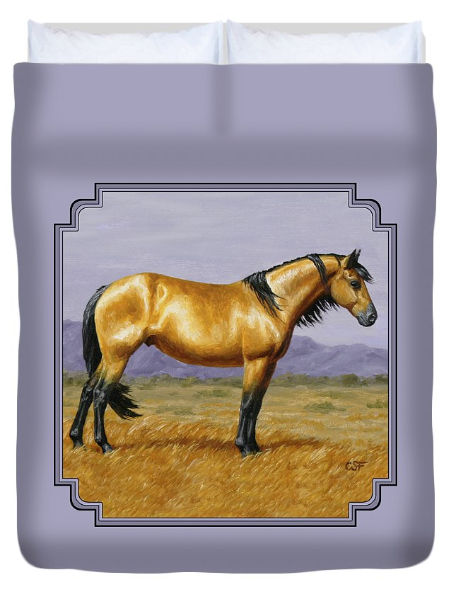 Horse Duvet Cover featuring the painting Buckskin Mustang Stallion by Crista Forest