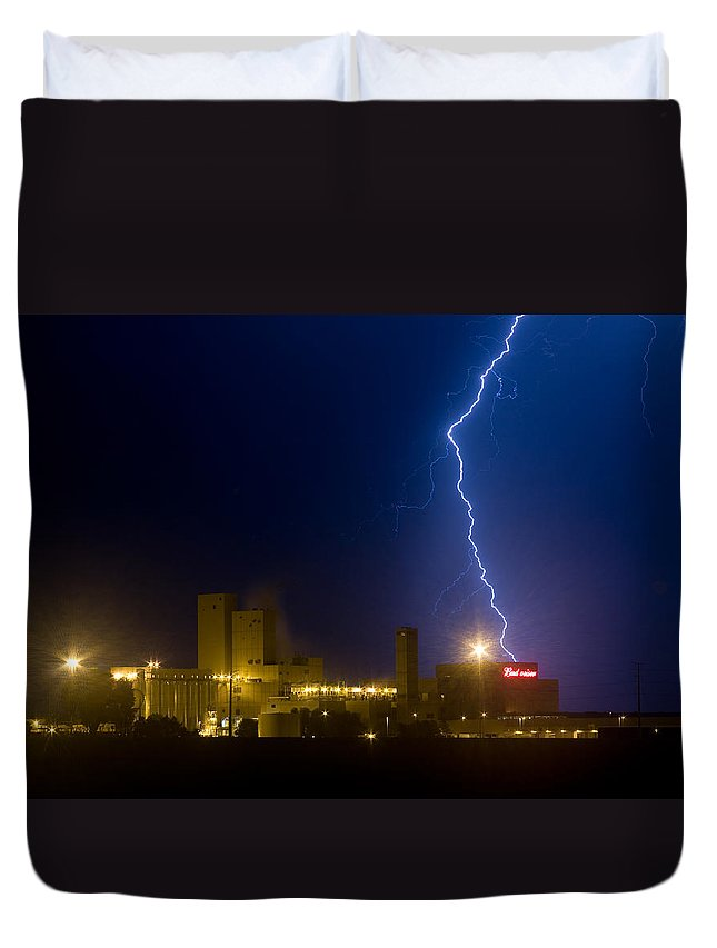 Lightning Duvet Cover featuring the photograph Bud Light Ning by James BO Insogna