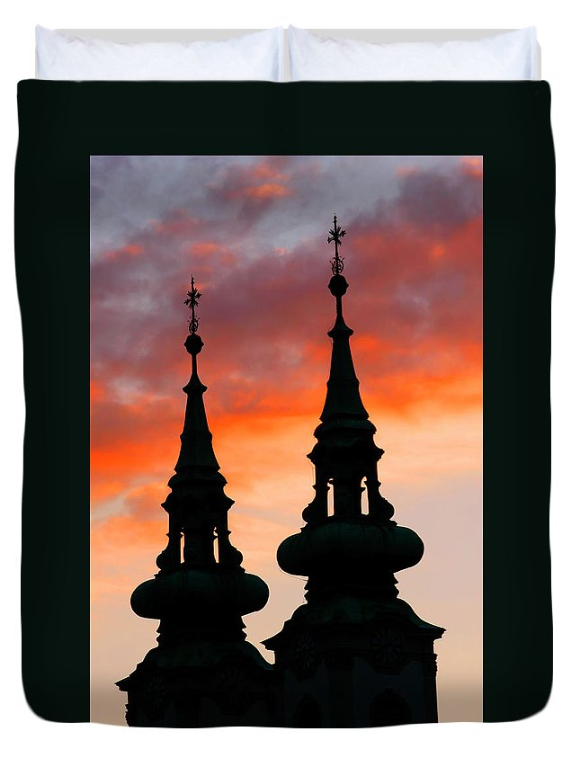 Budapest Duvet Cover featuring the photograph Budapest Sunset by KG Thienemann