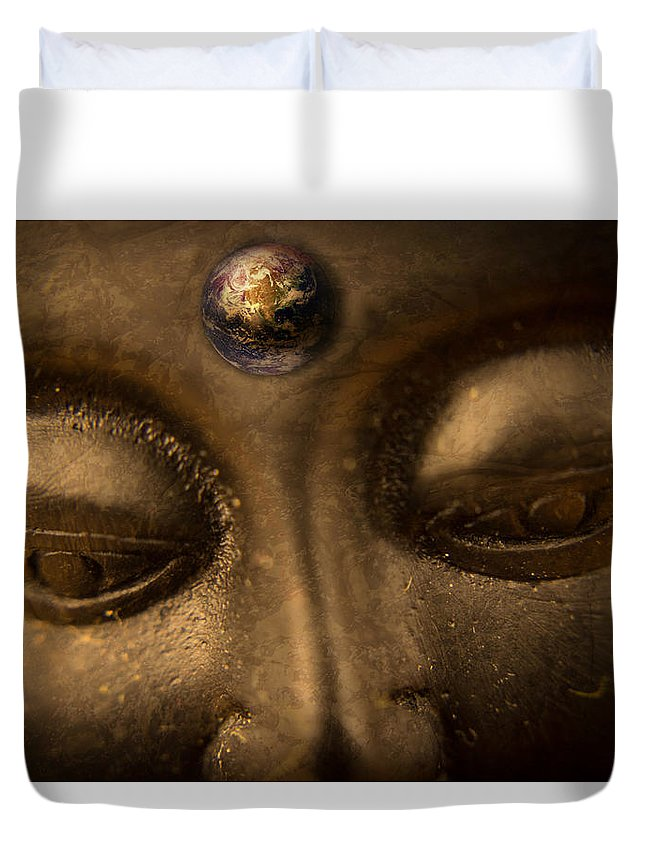 Duvet Cover featuring the photograph Budda by Janet Giles