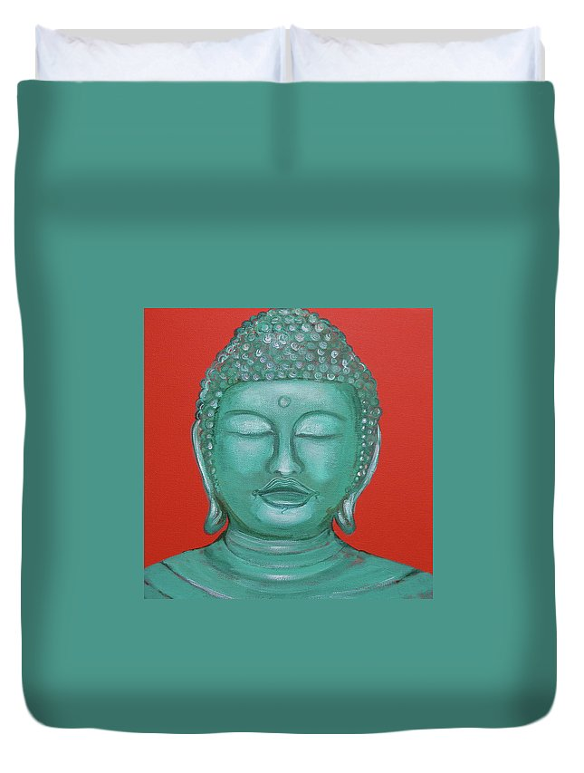 Buddah Duvet Cover featuring the painting Buddah I by Sue Wright