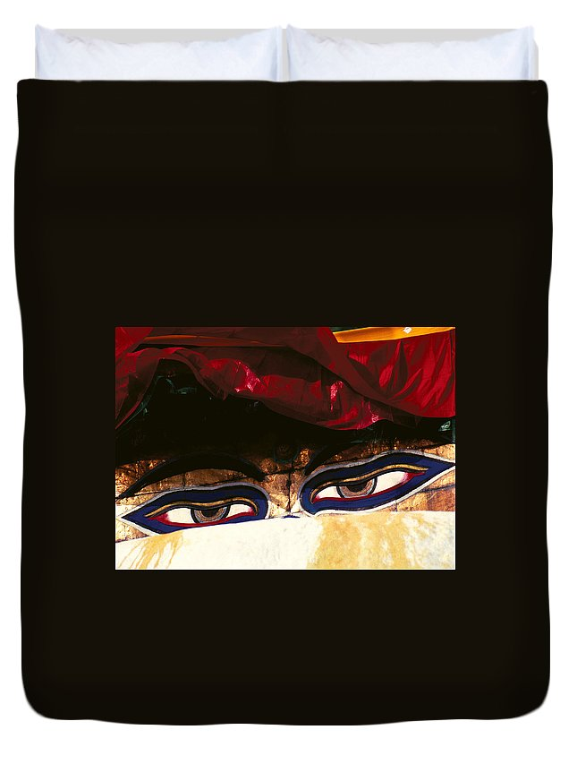 Eyes Duvet Cover featuring the photograph Buddha Eyes by Patrick Klauss