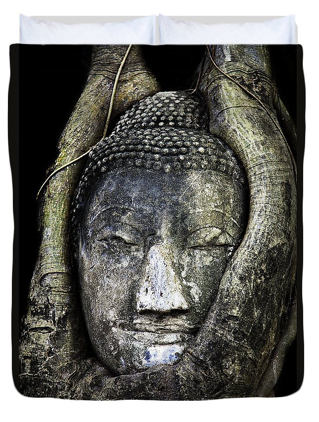Ayutthaya Duvet Cover featuring the photograph Buddha Head In Banyan Tree by Adrian Evans