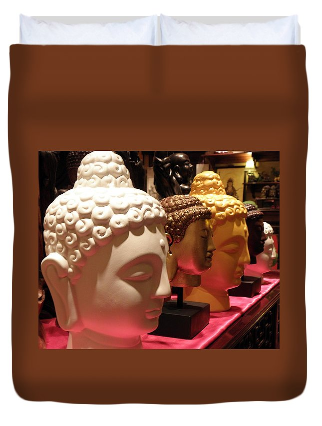 Buddha Duvet Cover featuring the photograph Buddha Heads by Nora Martinez