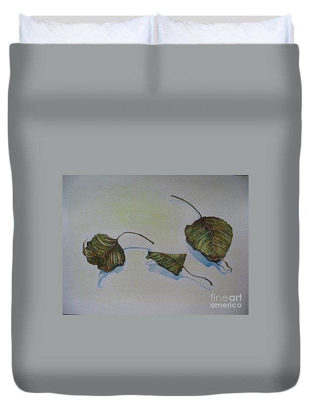 Buddha Duvet Cover featuring the painting Buddha Leaf 2 by Sukalya Chearanantana