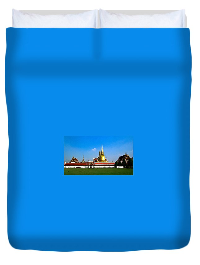 Buddha Duvet Cover featuring the photograph Buddhaist Temple by Douglas Barnett