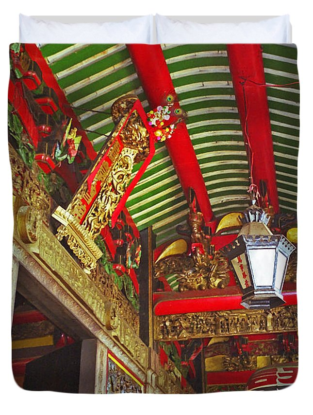 Vietnam Duvet Cover featuring the photograph Nord Hoi Temple Ceiling by Rich Walter