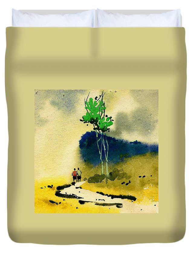 Landscape Duvet Cover featuring the painting Buddies by Anil Nene