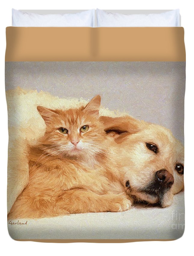 Dogs Duvet Cover featuring the mixed media Buddies by Garland Johnson