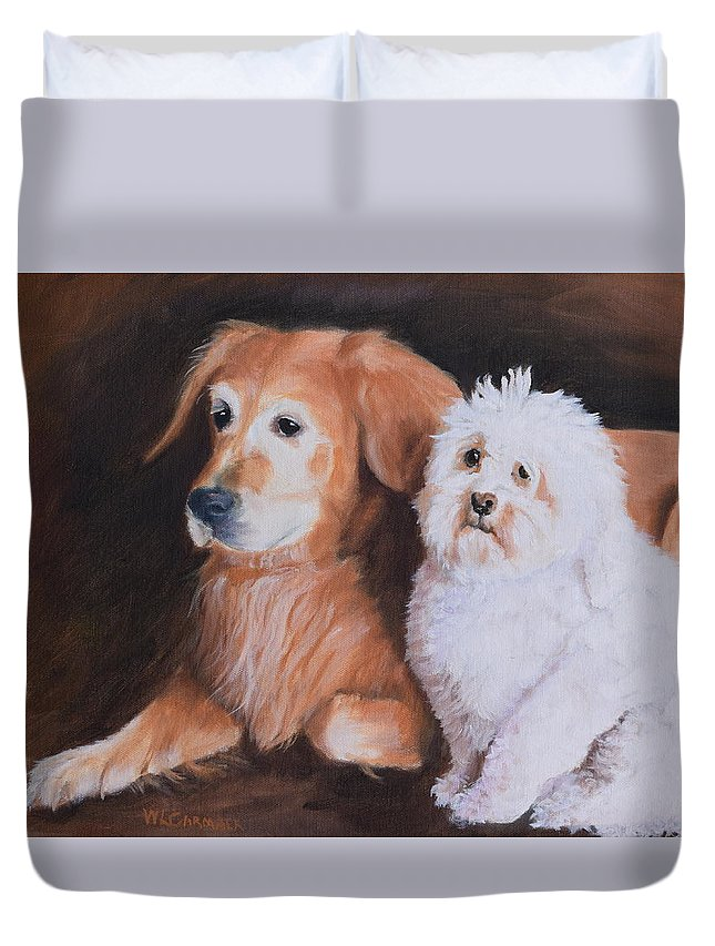 Pet Portrait Duvet Cover featuring the painting Buddies by Larry Carmack