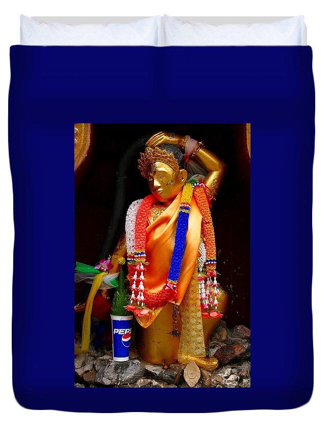 Buddism Duvet Cover featuring the photograph Buddism And Pepsi Shrine by Minaz Jantz