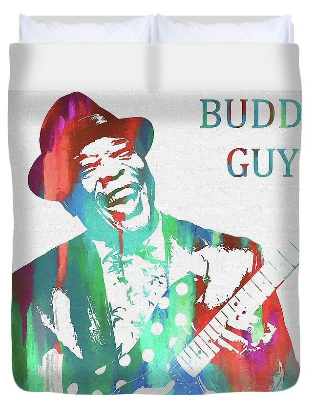 Buddy Guy Watercolor Duvet Cover featuring the painting Buddy Guy Watercolor by Dan Sproul