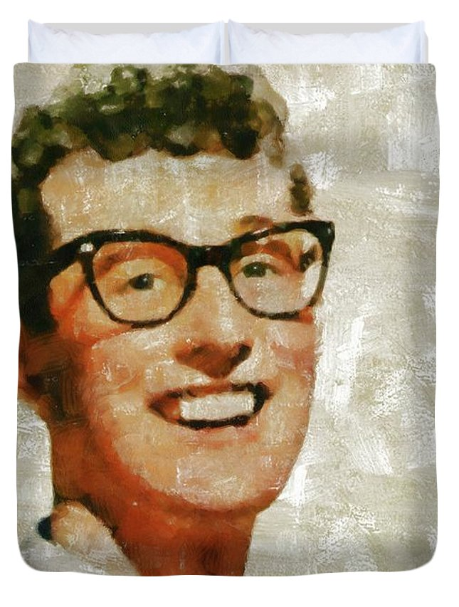 Buddy Duvet Cover featuring the painting Buddy Holly By Mary Bassett by Mary Bassett
