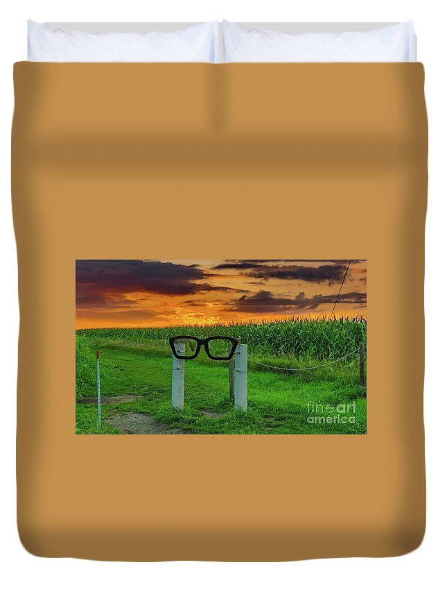Clear Lake Iowa Duvet Cover featuring the photograph Buddy Holly Glasses by Ron Miles Jr