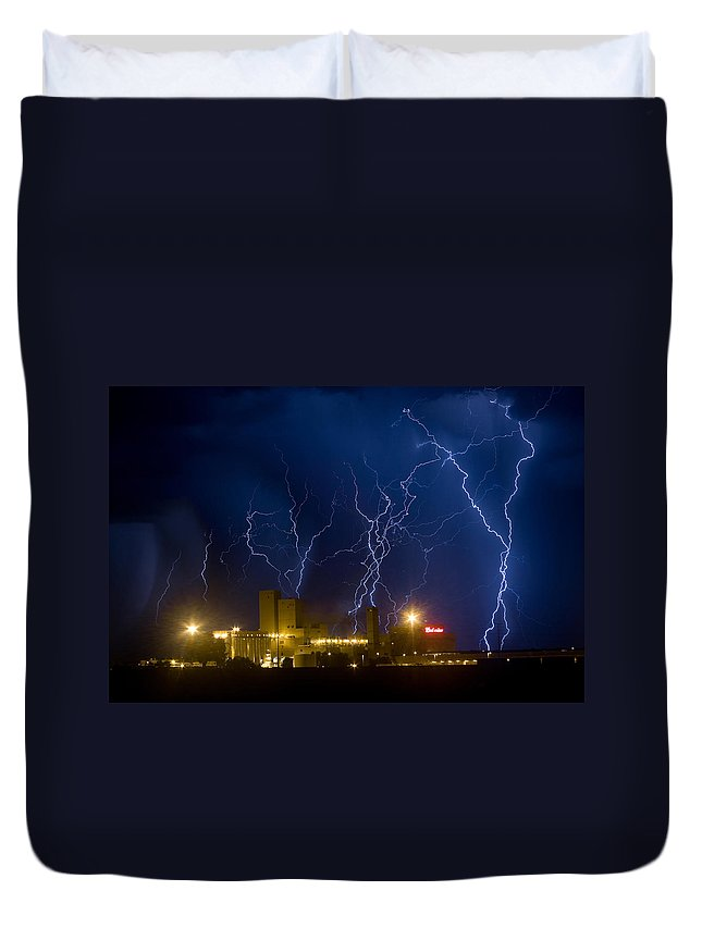 Lightning Duvet Cover featuring the photograph Budweiser Brewery Storm by James BO Insogna