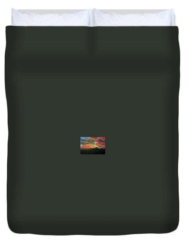 Sunset Duvet Cover featuring the painting Buenas Noches by Marco Morales